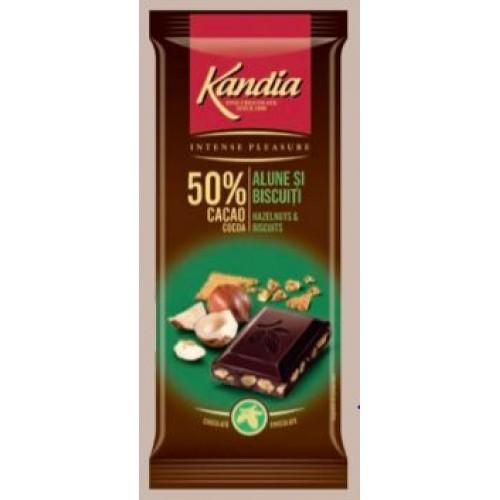 Kandia Ciocolata Amaruie Alune Si Biscu  80g *24