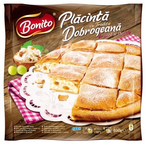 Bonito Placinta Dobrogeana cu branza dulce si stafide 800g *12