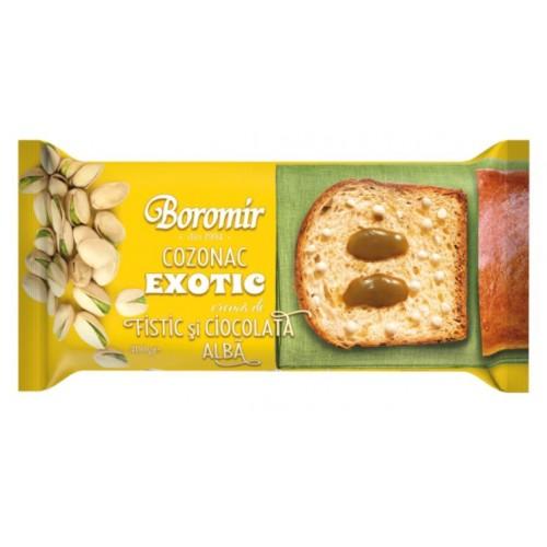 Boromir Cozonac Exotic Cr. Fistic, Chips Ciocolata Alba 400g *9