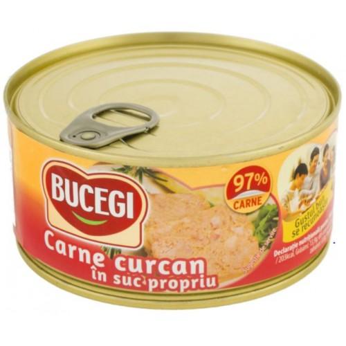 Bucegi Carne curcan in suc propriu 300g (97% carne) EO *6