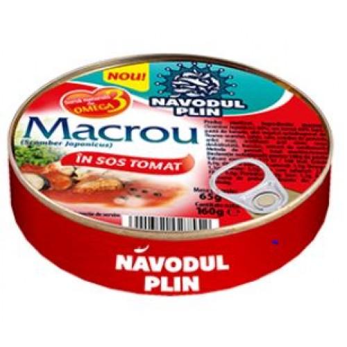 NAVODUL PLIN Macrou in sos tomat 160g EO *30