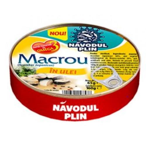 NAVODUL PLIN Macrou in ulei de floarea soarelui 160g EO *30
