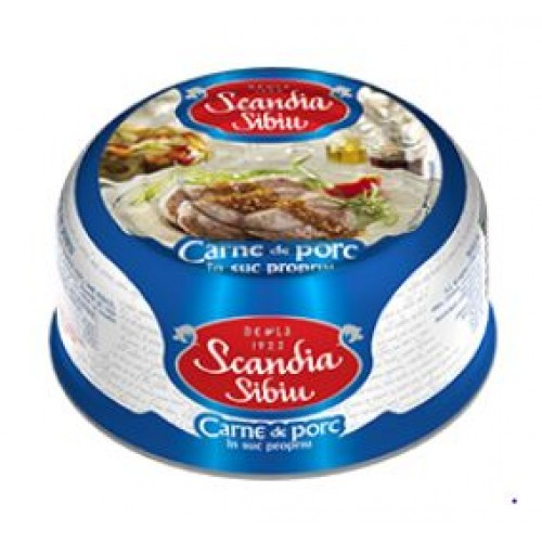 Scandia Sibiu Carne de porc in suc propriu 300g EO *6